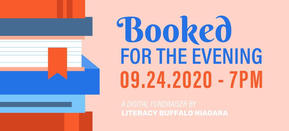 Event graphic for the Booked For The Evening digital fundraiser